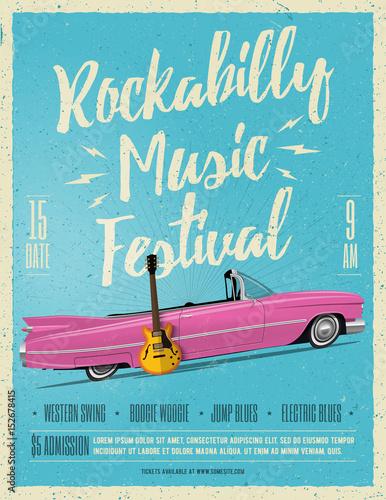 Ulotka plakat festiwalu muzyki Rockabilly. Vintage w stylu ilustracji wektorowych