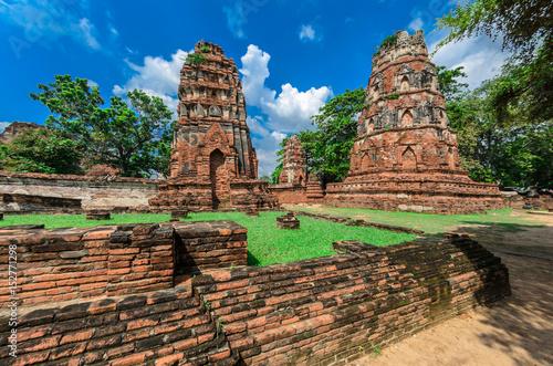 Wat Mahathat Temple in Ayutthaya Historical Park, a UNESCO world heritage site, Fototapeta