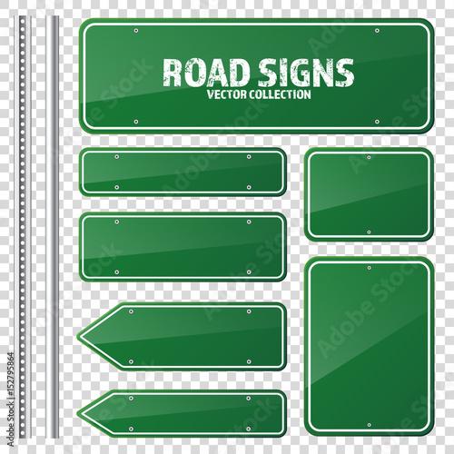 Canvas Print Road green traffic sign