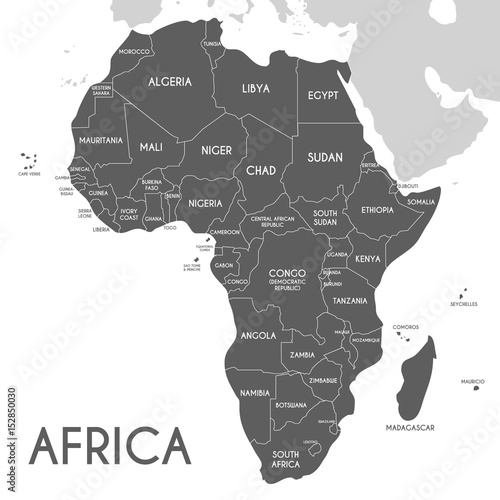 Photo Political Africa Map vector illustration isolated on white background