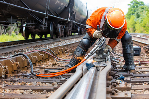 Canvas Print Railroad track welder