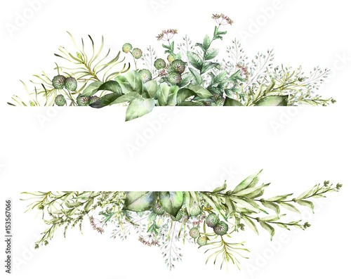 Tablou Canvas Card, Watercolor invitation design with herbs and leaves