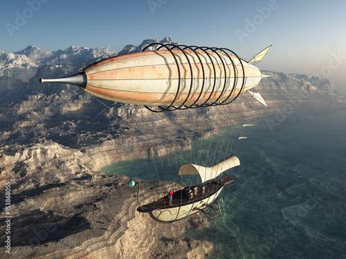 Fantasie Luftschiff Fotobehang