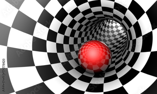 Czerwona piłka w tunelu szachowym. Określenie z góry. Przestrzeń i czas. Ilustracja 3D.