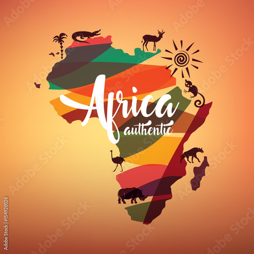 Africa travel map, decrative symbol of Africa continent with wild animals silhouettes
