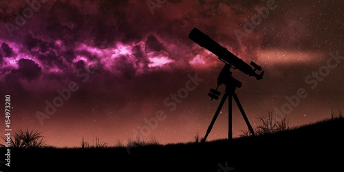 Canvas Print Telescope silhouette and night red bright sky with stars - Telescope space explo