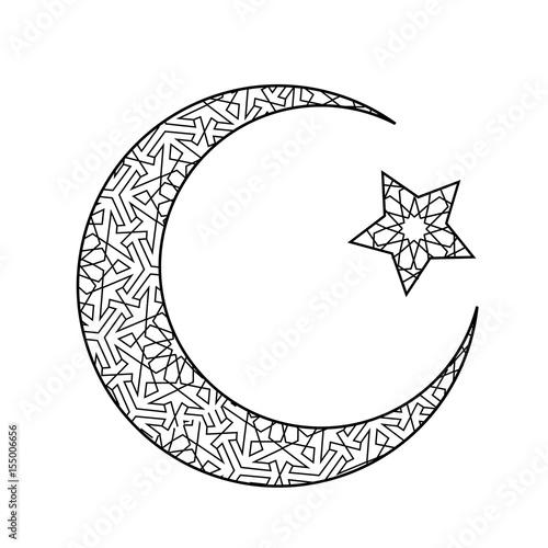 Vászonkép Crescent moon and star