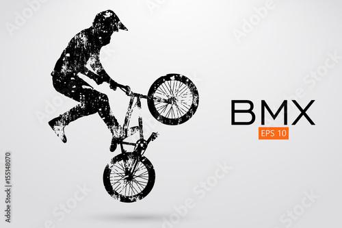 Obraz na plátně Silhouette of a BMX rider. Vector illustration