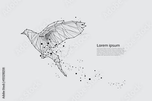 Fototapeta premium Ptak lecący z ruchem i efektem