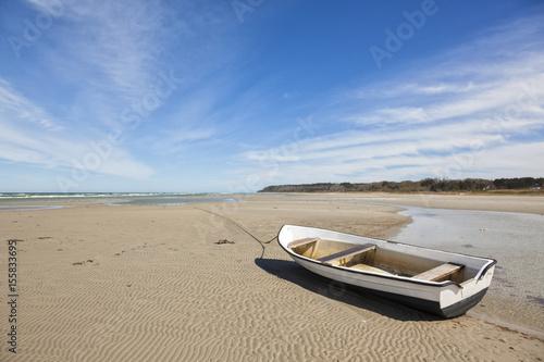 Obraz na plátně Boat on the Baltic Sea beach of Bønnerup, Jutland, Denmark