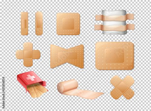 Different designs of bandages on transparent background Fototapet