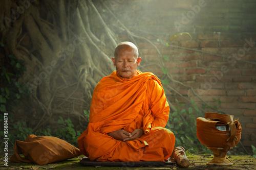 Canvas-taulu Buddhist monks are reading Novice learning,Thailand,vintage style