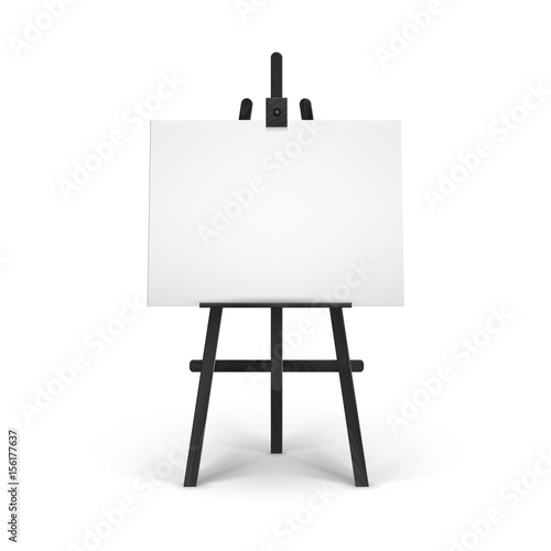 Fotografiet Vector Wooden Black Easel with Mock Up Empty Blank Horizontal Canvas Isolated on