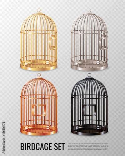 Tablou Canvas Canary Birdcage 3D Set