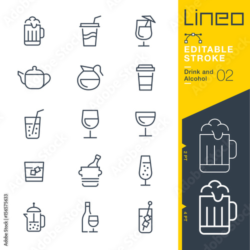 Photo Lineo Editable Stroke - Drink and Alcohol line icons Vector Icons - Adjust stro