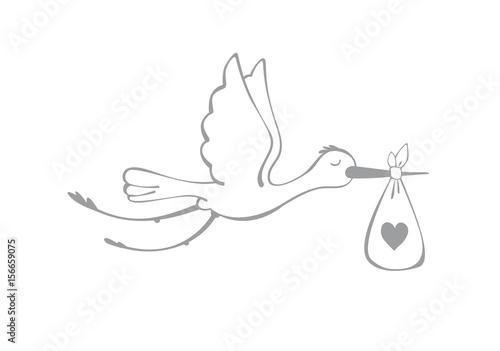 Stampa su Tela Stork and baby.
