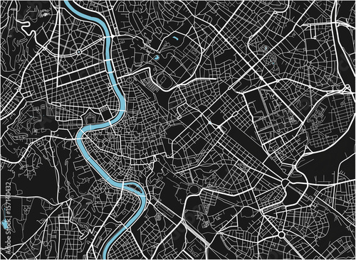 Obraz na plátně Black and white vector city map of Rome with well organized separated layers