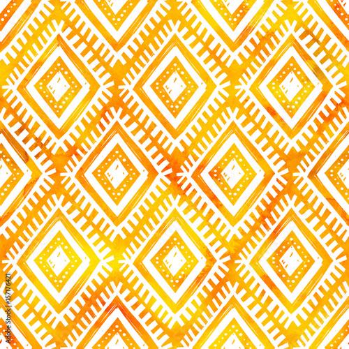 Wallpaper Mural Hand drawn white ornament on orange watercolor, vector seamless pattern