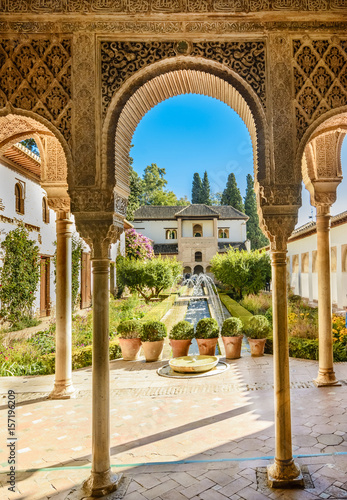 Canvas Print Courtyard of the Alhambra from Granada, Andalusia, Spain