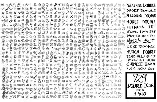 zestaw ikona doodle Powrót do szkoły, pogoda, biznes, ślub, pieniądze, fitness, media, transport, budowlane, muzyka eps10
