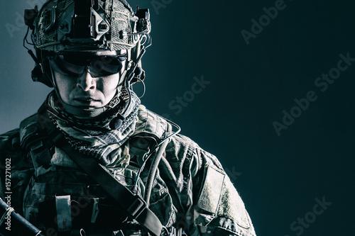 Tela Elite member of US Army rangers in combat helmet and dark glasses