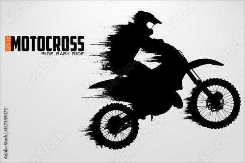 Canvas Print Motocross drivers silhouette. Vector illustration
