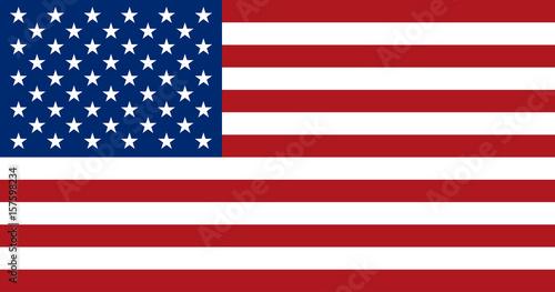 American flag, flat layout, vector illustration