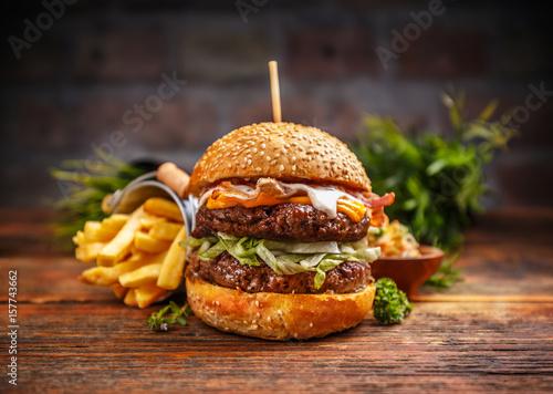 Fotografie, Tablou Fresh tasty burger