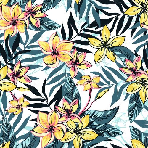 Fototapeta Tropikalny kwiaty plumeria z liśćmi rysunkowe do pokoju