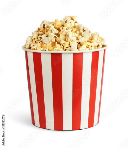 Popcorn in cardboard box isolated on white