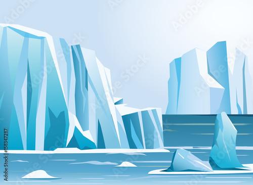 Fotografia, Obraz Vector illustration arctic landscape iceberg and mountains