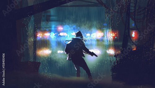 Valokuva scene of the thief with the gun being caught by police car light at rainy night