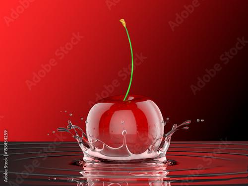 Wiśnia wpadająca do soku