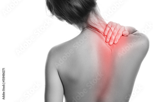 Fotografie, Obraz Woman with pain in her back and neck