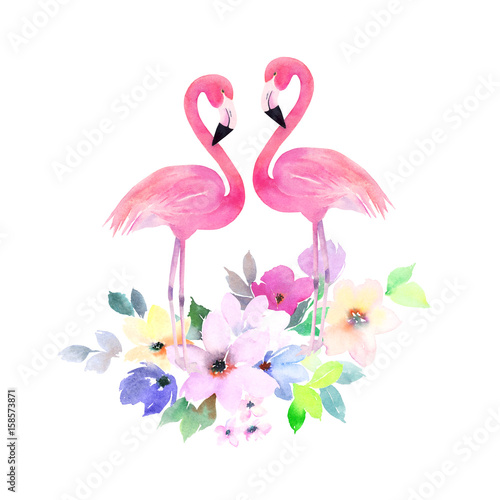 Couple pink flamingos and bouquet flowers. Watercolor print for  invitation, birthday, celebration, greeting card
