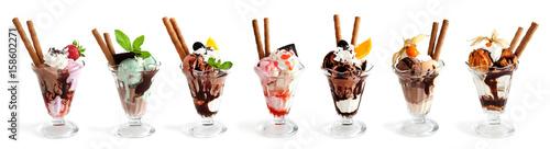 Valokuva Large collection of Ice cream on white