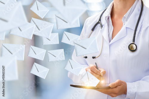Doctor makes sending email .