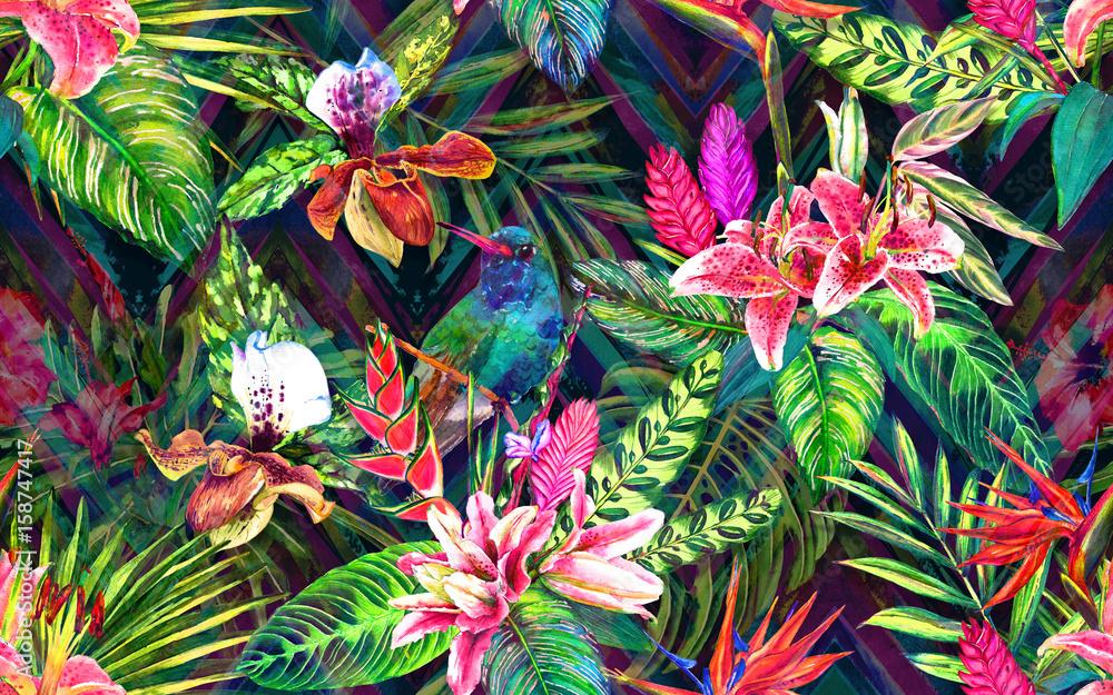 Bezproblemowa tropikalny kwiatowy wzór. Ręcznie malowane akwarela egzotycznych liści, kwiatów i ptaków, na tle ornament chevron. Projektowanie tkanin. <span>plik: #158747417   autor: tabuday</span>