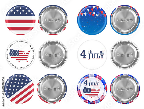 Fotomural steel round brooch 4th of july and america flag theme