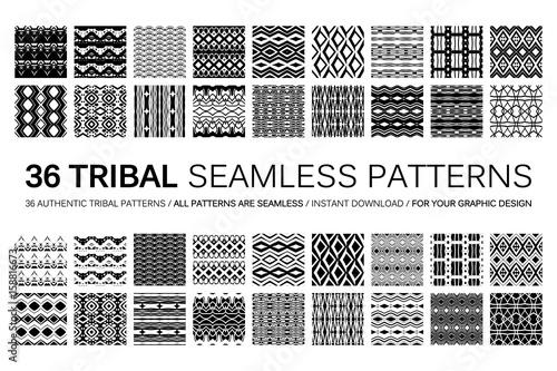 Fotografie, Obraz Set of 36 tribal seamless patterns.