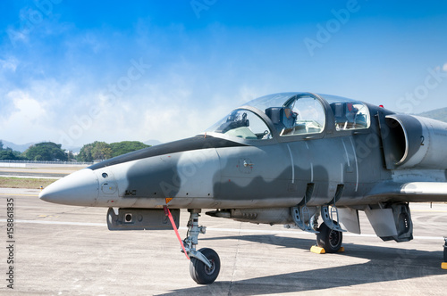 Obraz na płótnie F-16 fighter jet plane of Royal air force ,aircraft on runway