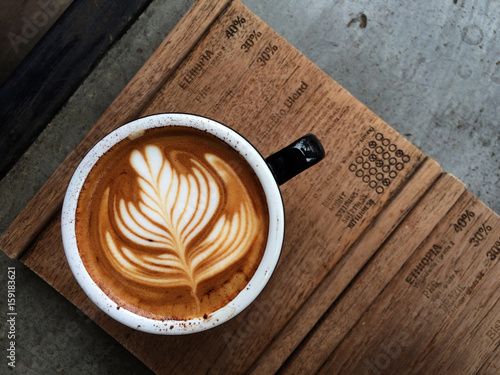 Nice Texture of Latte art on hot latte coffee Fototapete