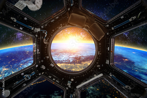 Earth and Spacecraft. Elements of this image furnished by NASA. Fototapeta