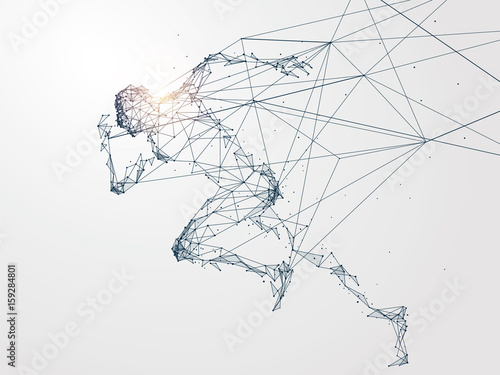 Wallpaper Mural Running Man,Network connection turned into, vector illustration.