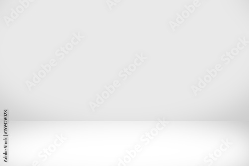 Leinwand Poster Abstract white background with white light and grey shadow : empty light interior with copy space for creative studio backdrop project