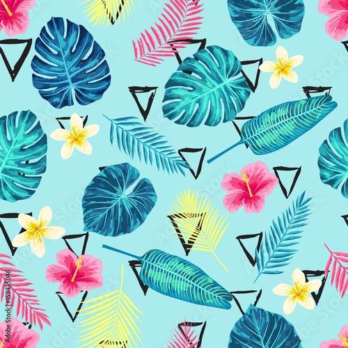 Fototapeta Egzotyczne liście palmowe na morskim tle do pokoju