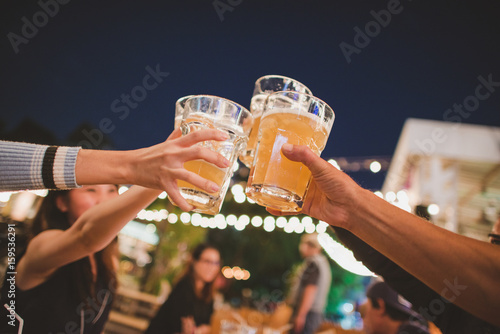 Canvas Print Cheers to the best friends,Group Of Friends Enjoying Evening Drinks,vintage style