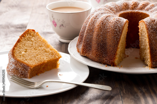 Valokuvatapetti Sponge cake with coffee with milk