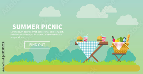 Canvas Print Outdoor picnic in park banner