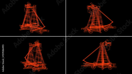 Canvas Print 3d rendering - wireframe model of antique big old wooden catapult with the big stones
